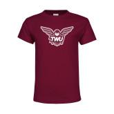 Youth Maroon T Shirt-Owl TWU