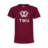 Youth Maroon T Shirt-Institutional TWU