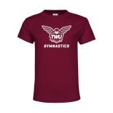 Youth Maroon T Shirt-Gymnastics