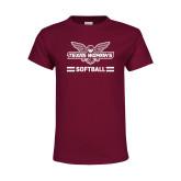 Youth Maroon T Shirt-Softball Owl Graphic