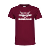 Youth Maroon T Shirt-Volleyball Owl Graphic