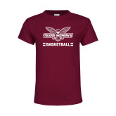 Youth Maroon T Shirt-Basketball Owl Graphic