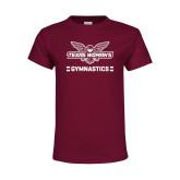 Youth Maroon T Shirt-Gymnastics Owl Graphic
