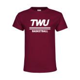 Youth Maroon T Shirt-Basketball TWU Typeface