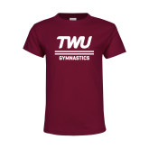 Youth Maroon T Shirt-Gymnastics TWU Typeface