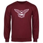 Maroon Fleece Crew-Owl TWU