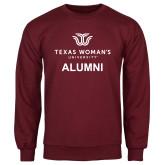 Maroon Fleece Crew-Alumni Institutional Logo