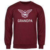Maroon Fleece Crew-Grandpa Owl TWU