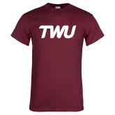 Maroon T Shirt-TWU Typeface