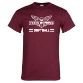 Maroon T Shirt-Softball Owl Graphic