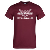 Maroon T Shirt-Volleyball Owl Graphic