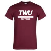 Maroon T Shirt-Softball TWU Typeface