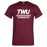 Maroon T Shirt-Gymnastics TWU Typeface