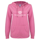 ENZA Ladies Hot Pink V Notch Raw Edge Fleece Hoodie-Institutional Logo