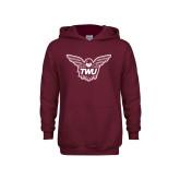 Youth Maroon Fleece Hoodie-Owl TWU