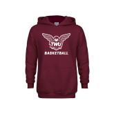 Youth Maroon Fleece Hoodie-Basketball