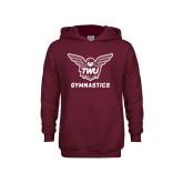 Youth Maroon Fleece Hoodie-Gymnastics
