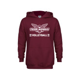 Youth Maroon Fleece Hoodie-Volleyball Owl Graphic