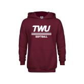 Youth Maroon Fleece Hoodie-Softball TWU Typeface