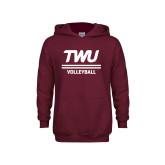 Youth Maroon Fleece Hoodie-Volleyball TWU Typeface