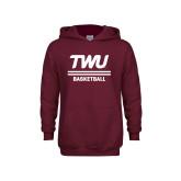 Youth Maroon Fleece Hoodie-Basketball TWU Typeface