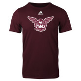 Adidas Maroon Logo T Shirt-Owl TWU