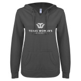 ENZA Ladies Dark Heather V Notch Raw Edge Fleece Hoodie-Institutional Logo