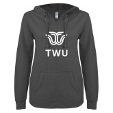 ENZA Ladies Dark Heather V Notch Raw Edge Fleece Hoodie-Institutional TWU