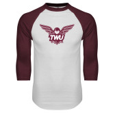 White/Maroon Raglan Baseball T Shirt-Owl TWU