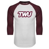 White/Maroon Raglan Baseball T Shirt-TWU Typeface