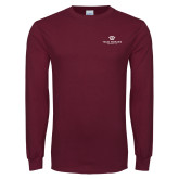 Maroon Long Sleeve T Shirt-Institutional Logo