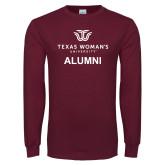 Maroon Long Sleeve T Shirt-Alumni Institutional Logo