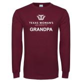 Maroon Long Sleeve T Shirt-Grandpa Institutional Logo