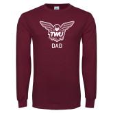 Maroon Long Sleeve T Shirt-Dad Owl TWU