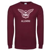 Maroon Long Sleeve T Shirt-Alumni Owl TWU