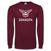 Maroon Long Sleeve T Shirt-Grandpa Owl TWU
