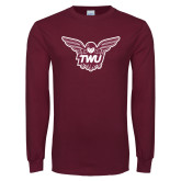 Maroon Long Sleeve T Shirt-Owl TWU