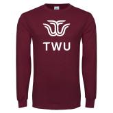 Maroon Long Sleeve T Shirt-Institutional TWU