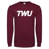 Maroon Long Sleeve T Shirt-TWU Typeface