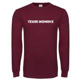 Maroon Long Sleeve T Shirt-Texas Womans Typeface