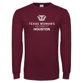 Maroon Long Sleeve T Shirt-Houston with Institutional Mark