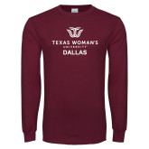 Maroon Long Sleeve T Shirt-Dallas with Institutional Mark