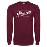 Maroon Long Sleeve T Shirt-Pioneers Established Date