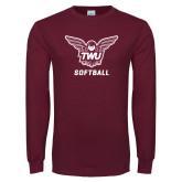 Maroon Long Sleeve T Shirt-Softball