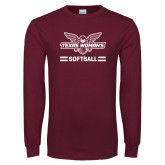 Maroon Long Sleeve T Shirt-Softball Owl Graphic