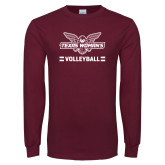 Maroon Long Sleeve T Shirt-Volleyball Owl Graphic