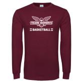 Maroon Long Sleeve T Shirt-Basketball Owl Graphic