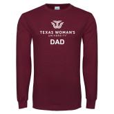 Maroon Long Sleeve T Shirt-Dad Institutional Logo