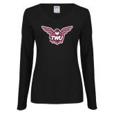 Ladies Black Long Sleeve V Neck Tee-Owl TWU