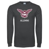 Charcoal Long Sleeve T Shirt-Alumni Owl TWU